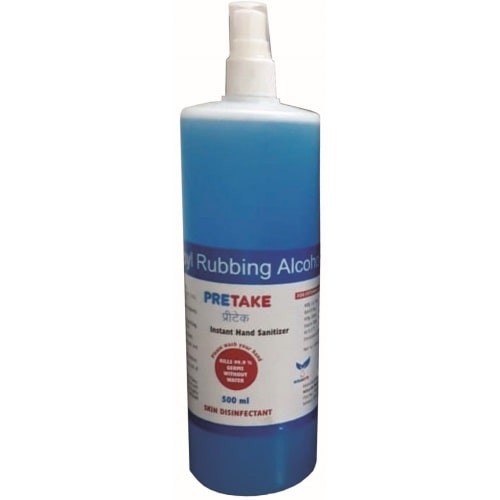 Pretake-Instant-Hand-Sanitizer-500-ml-Spray-Blue-Niharith-Pharma-Pvt-Ltd-Best-Pharmaceuticals-Contract-Manufacturing-Company